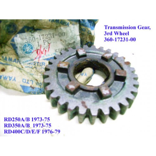 Yamaha RD250 RD350 RD400 Transmission Gear - 3rd Wheel 360-17231-00 free post