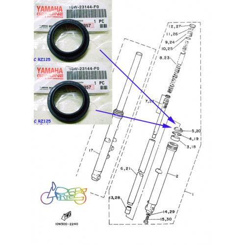 Yamaha RD125LC RZ125 Front Fork Dust Seal x2 10W-23144-F0