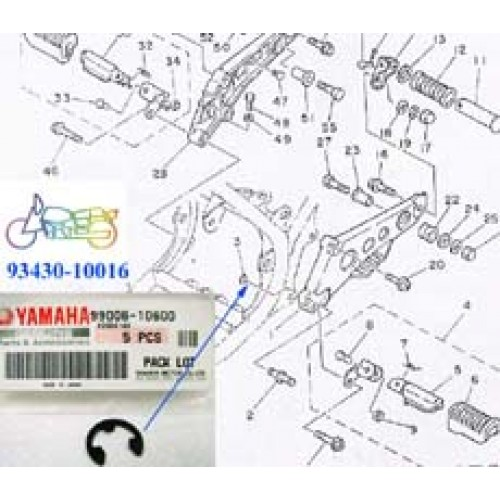 Yamaha LB80 XS2 XS500E XS650 RD400 RD250LC RD350LC Footrest Circlip 93430-10016 free post