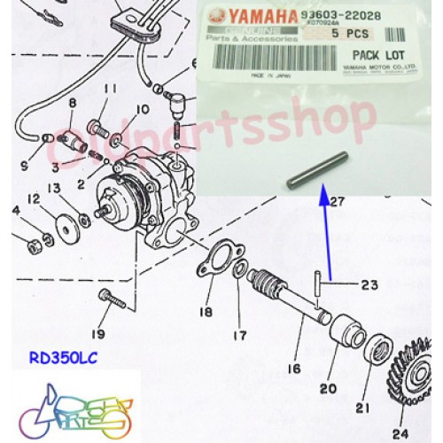 Yamaha YG1 YJ1 RD125 R3 DS7 CS3 TZ350 R5 RD250 RD350 RD400 RD350YPVS RD350LC RZ350 Oil Pump Worm Shaft Pin 93603-22028