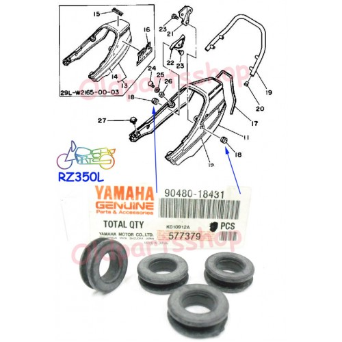 Yamaha RD350YPVS RZ350 Tail Piece Grommet x4 RD250YPVS Seat Cover Rubber Damper 90480-18431