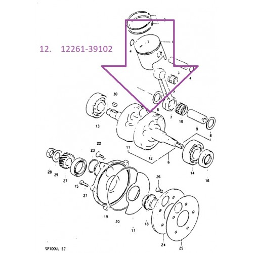 Suzuki GP100 Crankshaft LH 12261-39102-0A0