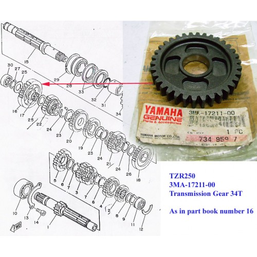 Yamaha TZR250 Transmission Gear 34T 3MA-17211-00 free post