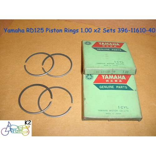 Yamaha RD125 Piston Ring 1.00 x2 NOS 4th Over Size Rings 396-11610-40