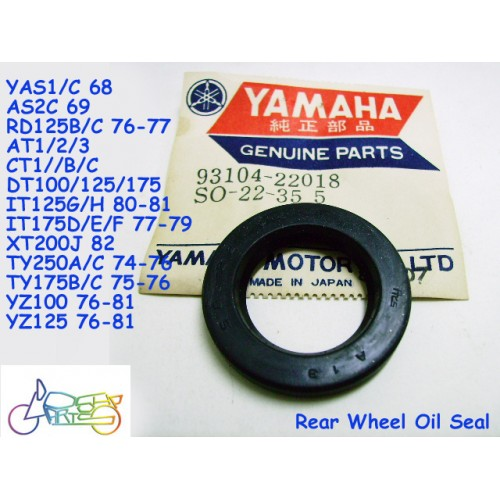Yamaha YAS1 YAS3 RD125 CT1 XT200 XT125 DT400 Rear Wheel Oil Seal NOS 93104-22018 free post