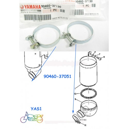 Yamaha YAS1 YAS2 YAS3 YCS1 CS5 LS2 Air Boot Clamp x2 NOS Air Cleaner Joint 90460-37130 free post